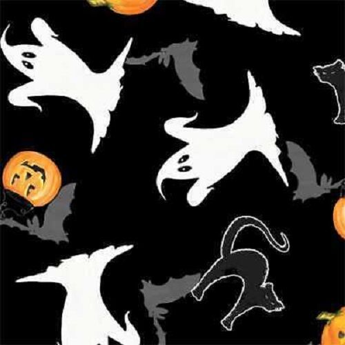 SPOOKY SPECTACULAR GHOSTS PUMPKINS BLACK CATS BATS HALLOWEEN FABRIC
