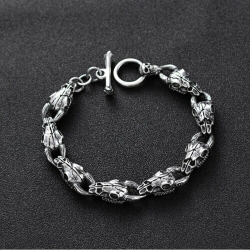 Solid 925 Sterling Silver Mens Heavy Linked Goat Skull Chain Cuff Bracelet