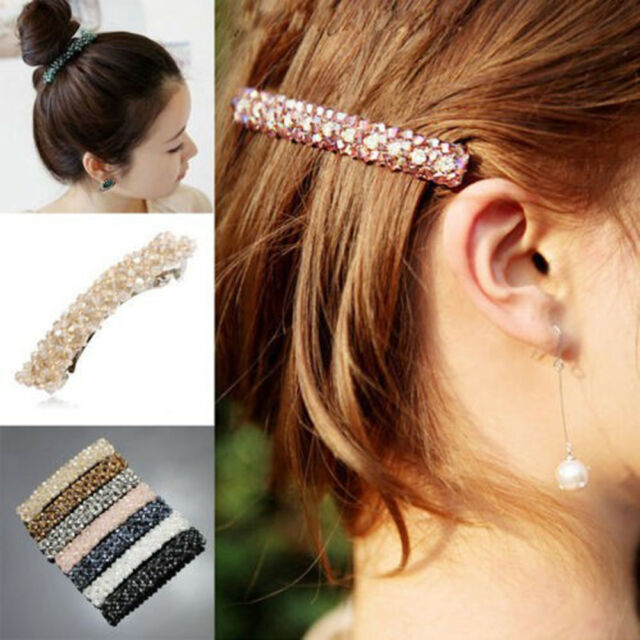 Mode filles Bling en strass cheveux Clip épingle à cheveux Barrette brillant