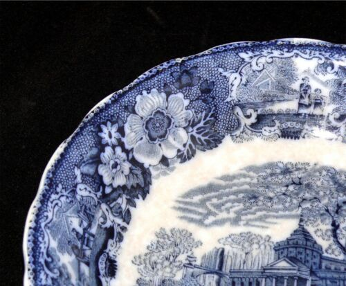 "Flow Blue Antique W Adams Venetian Scenery 8 3//4/"" Bowl"