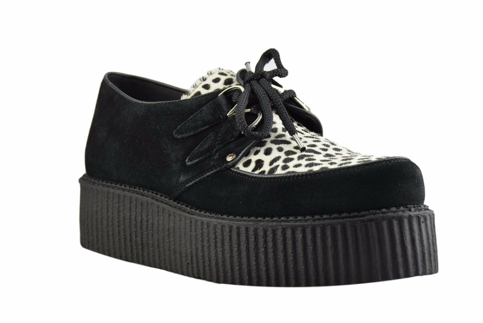 STEEL Ground Scarpe Neri in Pelle Scamosciata Leopardata Creepers alto suola D Anello Casual