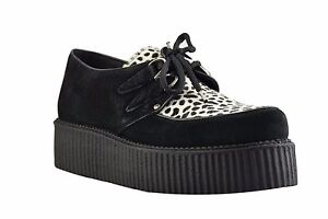 Herren-Halbschuhe Herrenschuhe Steel Ground Shoes Black Leather Union Jack Creepers High Sole D Ring Casual