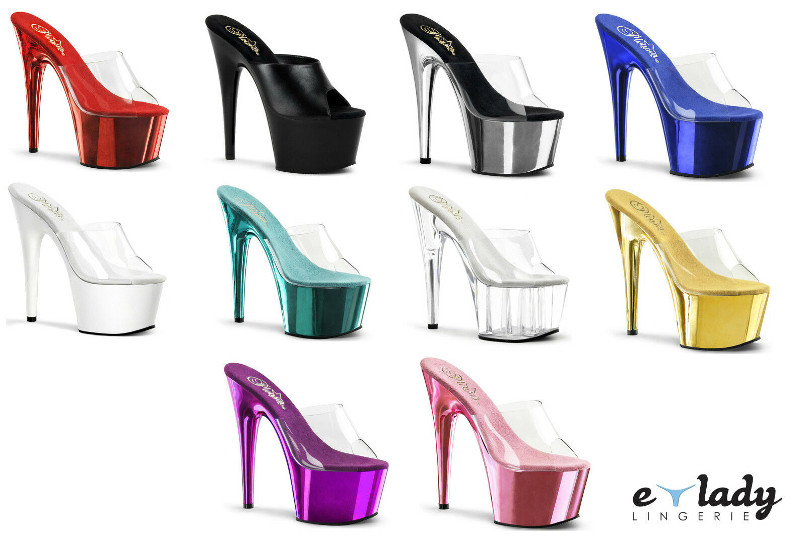 Pleaser Schuhes Adore-701 Sandales Mules Stiletto High Heels Peep Toes Pole Dancing