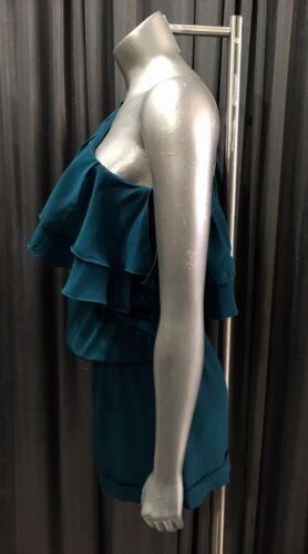 Silk One Teal Shorts Ruffle Grimaldi Shoulder 295 Karina Romper BFC5qf