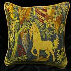 2 x Piped SCATTER CUSHION COVERS Medieval Tapestry Designs Lion Unicorn 42cm sq