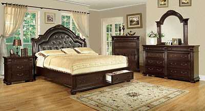 Brand New Bed Bedroom Set Queen king Bed in Cherry Color Furniture CM7162 |  eBay