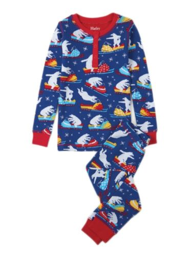 Hatley Polar Bear Snow Mobile Winter Waffle Pajamas Boys Blue Christmas Was £26