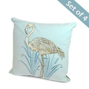 4x-Flamingo-Cushion-Pillow-Embroidered-Cover-Case-Pale-Blue-Silver-Nature-Exotic