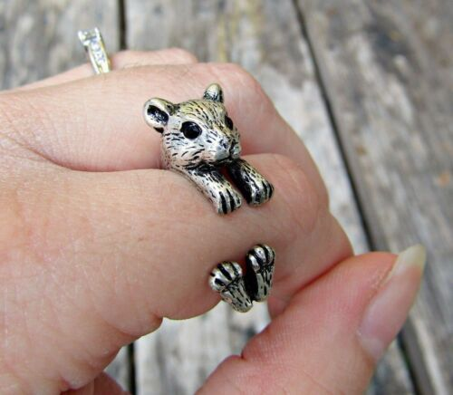 Hamster Ring Adjustable Wrap Gerbil Ring Silver Bronze Animal Pet Jewelry Gift