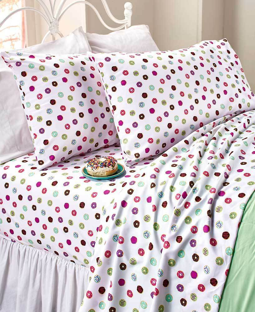 Twin Full Queen Novelty Printed Sheet Sets colorful Sprinkled Yummy Donuts Sheet