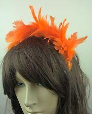 Fascia per capelli Fascinator con Piuma arancione dei capelli Band Nuziale Festa RACE Ascot