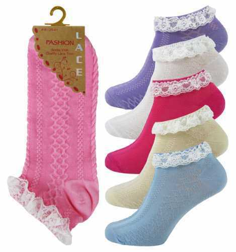 2//3 PP Ladies//Girls Frilly Lace Trim Top  Cotton Trainer//Anklet Socks Size 4-8