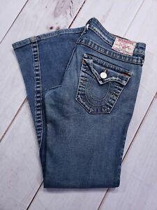 True-Religion-Joey-Women-039-s-Dark-Wash-Distressed-Stretch-Denim-Jeans-30-Inseam-28