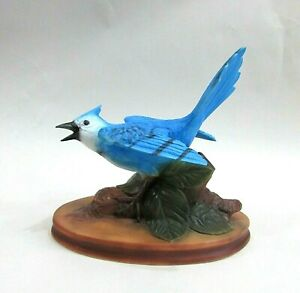 Duncan Enterprises Vintage Blue Jay Airbrush Painted Ceramic Figurine FREE S/H