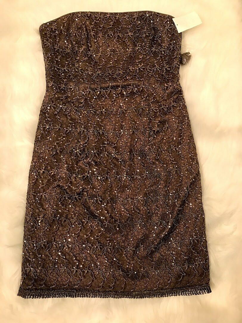 Adrianna Papell bronze sequin lace overlay Sheath dress Sz 8 New
