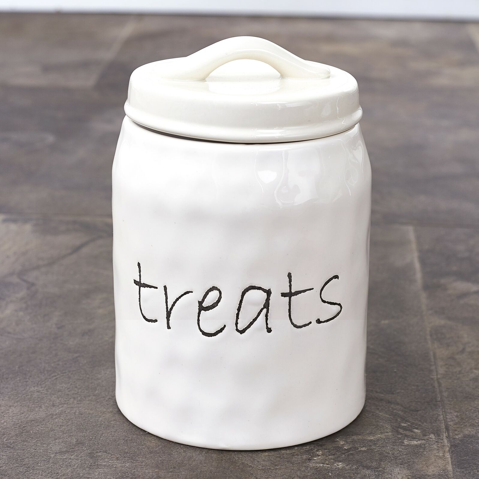 Lacourte Pet Embossed Jar White Pet Treat Jar