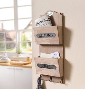 Holz-Bord Zeitung und Post Briefbox Schlüsselbrett Wanddeko ...