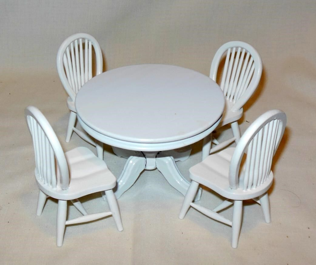5 PIECE Weiß TABLE SET ROUND TABLE  DOLLHOUSE FURNITURE MINIATURES