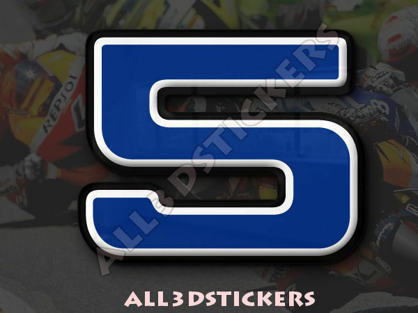 3D Stickers Resin Domed NUMBER 5 FIVE - Color Blue - 100 mm(4 inches) Adhesive