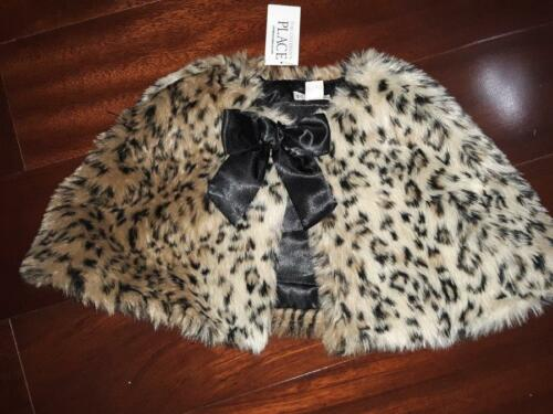 New TCP The Childrens place Faux leopard animal print shrug jacket bow 12-18 mon