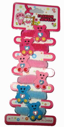 girls hair bobbles 6 teddy bear ponios blue and pink new