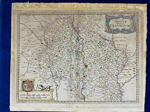 CARTE ANCIENNE GRAVURE QUERCY CADVRCIVM / LOT et TARN & GARONNE Par HONDIUS 1633