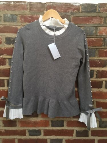 Grey Jumper Top NEW One Size Studs Bows Frills