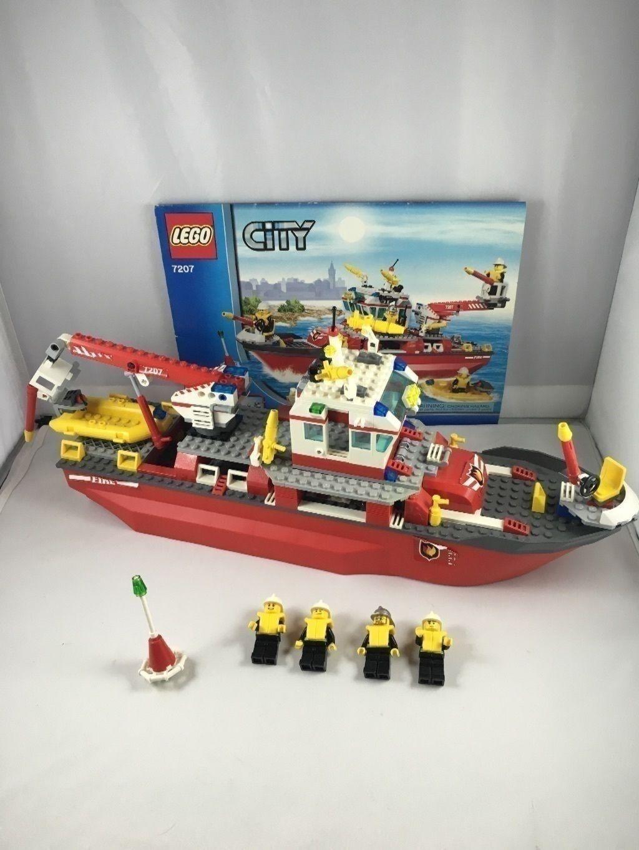 LEGO City Fire Ship 7207 boat fireman ship figures raft retiROT set