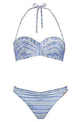 WATERCULT Bikini Set Modern Mariner Bandeau BLU Horizon Blue Slip Costumi da bagno