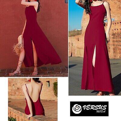 Vestito Donna Lungo Stile'70 Con Spacchi Woman Maxi Dress Coachella 110413 Eccellente Nell'Effetto Cuscino