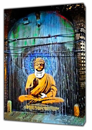 Banksy Wounded Buddha painting Print on Framed Canvas Wall Art Home Decoration