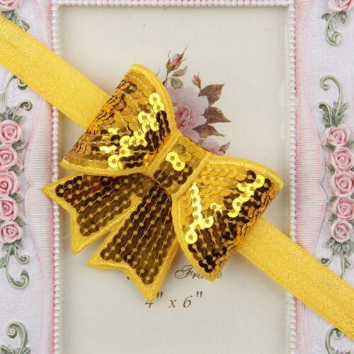 Baby Girls Kid Sequin Bowknot for Headband Hair Band Bow Accessory Headwear Csp