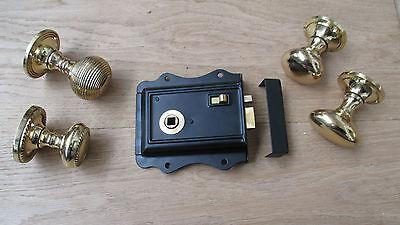 TRADITIONAL CLASSIC STYLE BEDROOM BLACK RIM DOOR LATCH LOCK /& RIM KNOB HANDLES