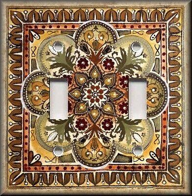 Metal Light Switch Plate Cover - Italian Tile Pattern Rust Brown Tan Amber Decor