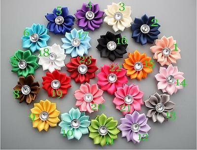 5/15/25 Pcs 50MM Satin Ribbon Flowers Appliques Craft Wedding Party Sewing DIY