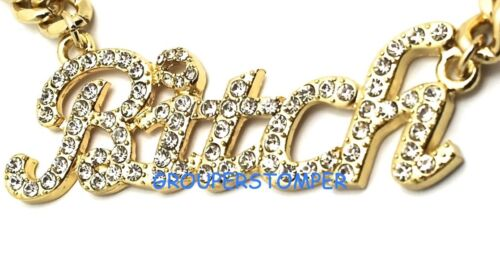 Bitch Necklace New with Crystal Rhinestones Pendant 16 Inch Cuban Link Chain