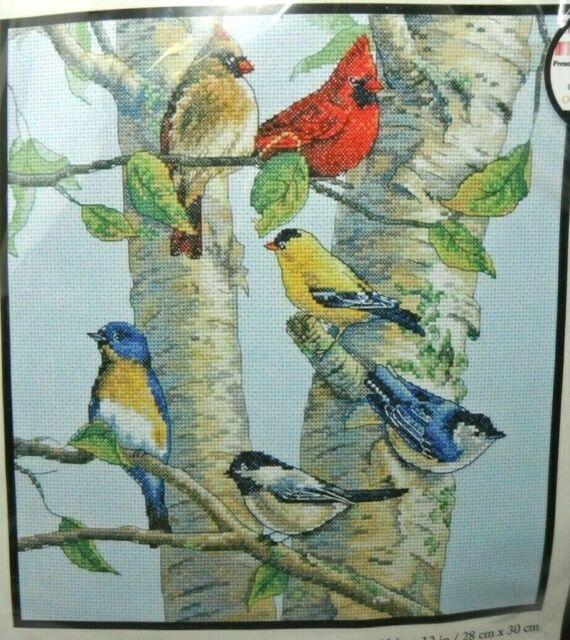 "Birch Tree Birds #35252  Dimensions Counted Cross Stitch Kit    11"" x 12"""