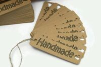 x50 'Handmade' labels gift tags for sewing,knitting,jewellery,crafting