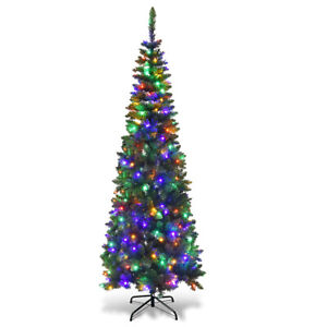6-5ft-Pre-Lit-Hinged-Artificial-Pencil-Christmas-Tree-with-250-Multicolor-Lights