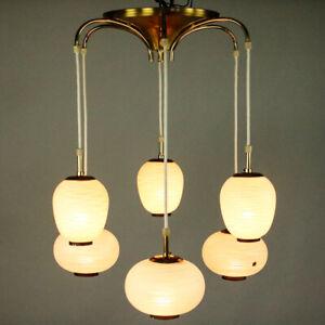 Doria Kaskaden Leuchte 6flammig Hänge Lampe Design Glas & Messing Vintage 50er
