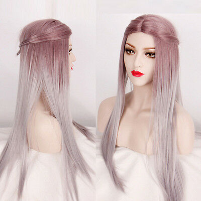 New Women Sexy Fashion Long Straight Hair Full Wig Lolita Ombre Silver Cosplay