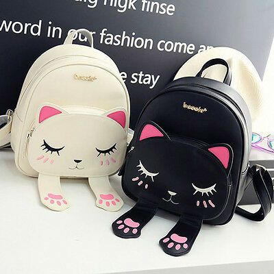 Cat Backpack Black Women Travel Shoulder Bag Mochila Leather Handbag Backpack ##