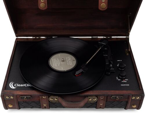 Vintage Suitcase Turntable with Bluetooth /& USB Classic Wooden Retro Design