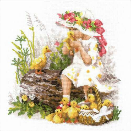 """RIOLIS Counted Cross Stitch Kit 11.75/""""X11.75/"""" Girl W//Ducklings 1 499995759763"""