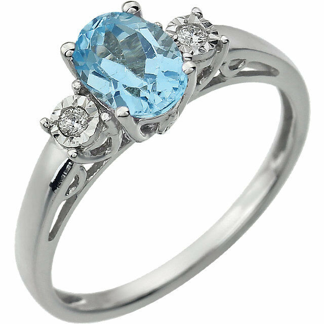 14k White gold Genuine Swiss bluee Topaz and Diamond Ring