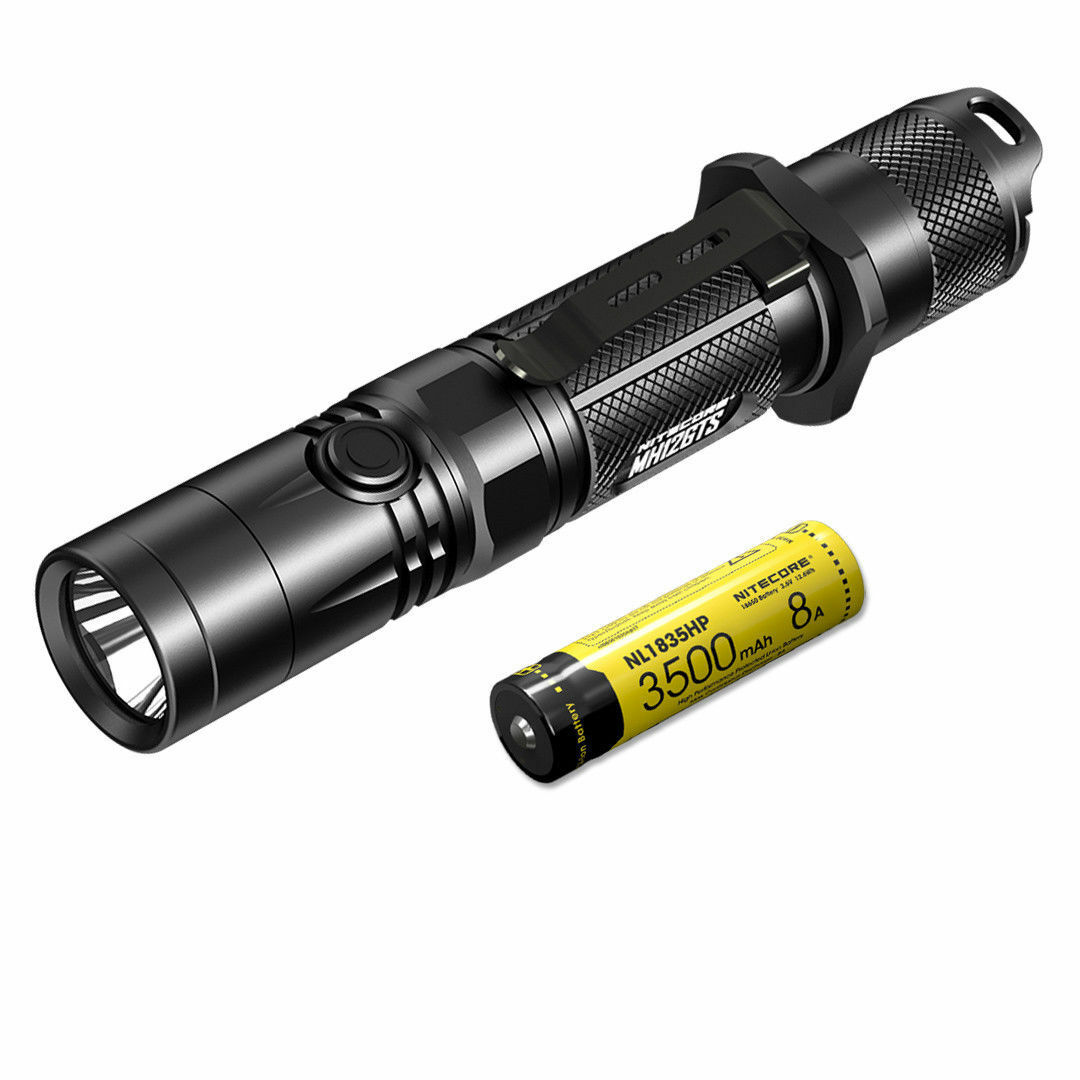 NITECORE MH12GTS 1800 Lumen Long Throw USB Rechargeable LED Flashlight & Battery