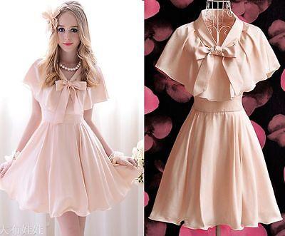 Elegant Cute Kawaii Princess Sweet Women Lolita Slim Cape sleeve Pink dress