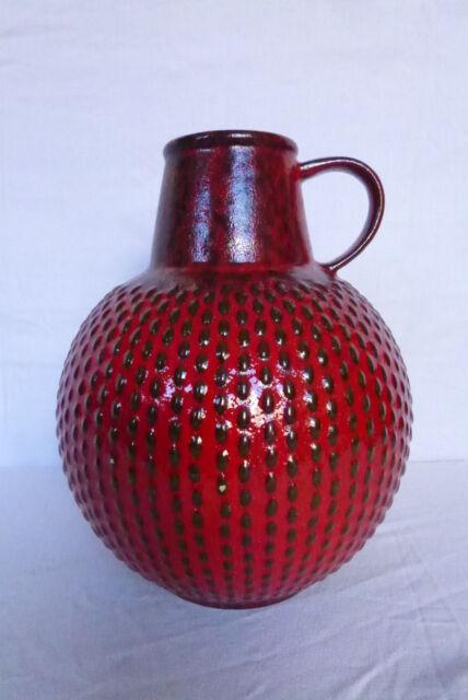 alte Vase / Bodenvase / Kugelvase / Henkelvase / alter Krug Jasba rot 35 cm hoch