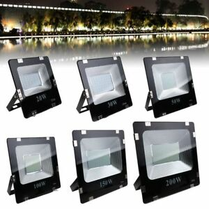 20W-200W SMD LED Flood Light Landscape Outdoor Lamp Spotlight 85-265V IP66 White