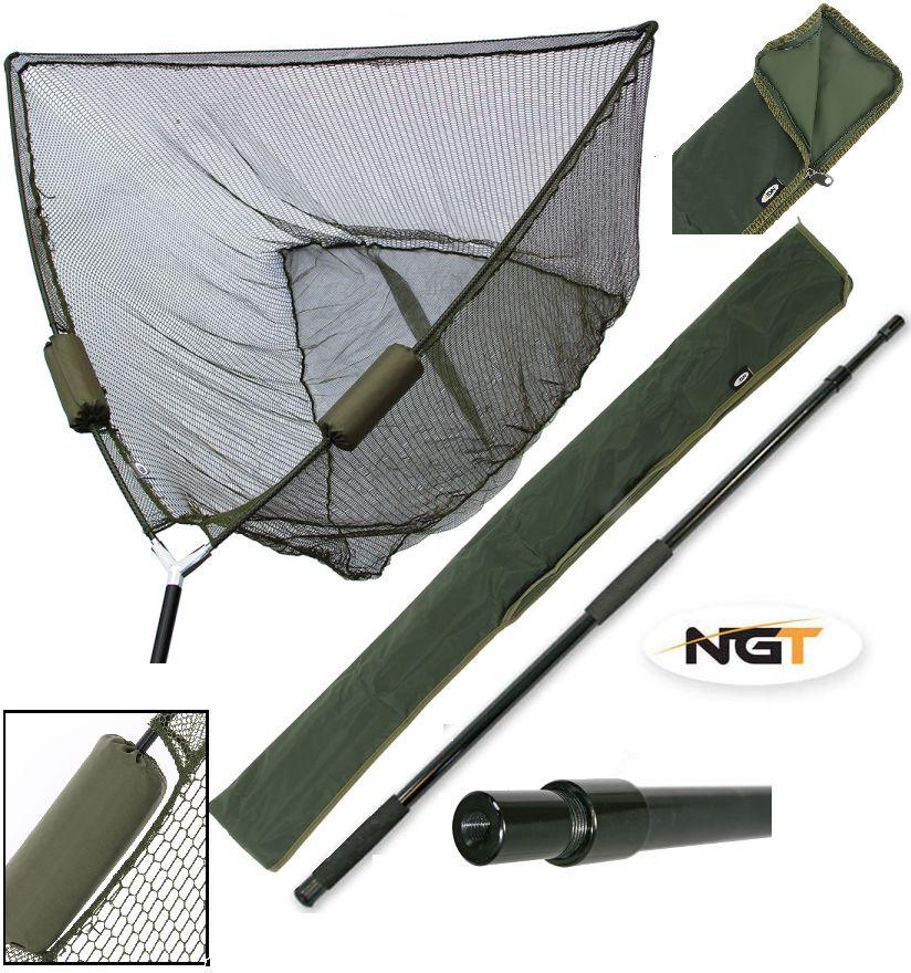 CARP FISHING 50  INCH GREEN NGT DUAL FLOAT LANDING NET + HANDLE + STINK BAG